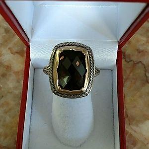 Jewelry - Sterling 11ct smoky topaz 14k gold
